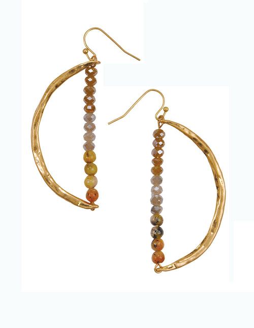 Crescent Moon Gemstone Detail Drop Earrings