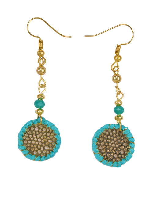 Turquoise & Gold Cutout Drop Earrings