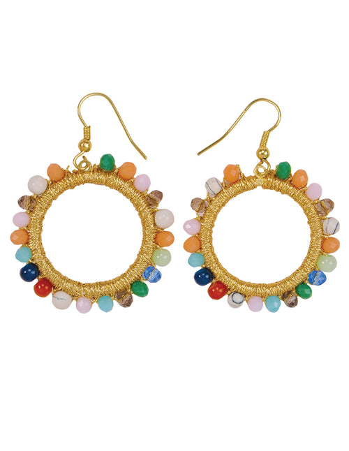 Gemstone Beads Hoop Earrings