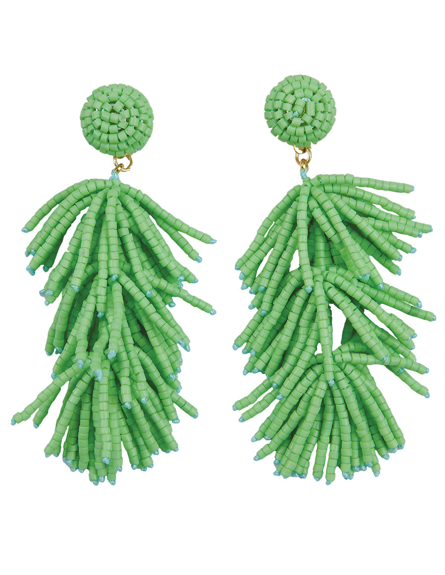 Beaded Fringe Drop Post Earrings