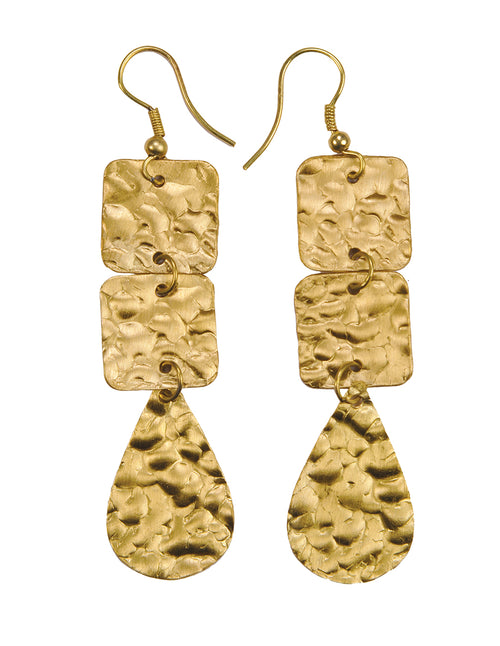Hammered Finished Lisa Drop Earrings