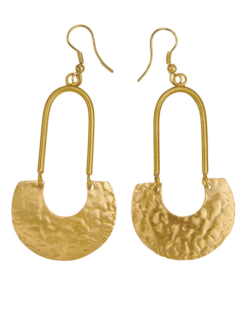 Hammered Finished Pari Drop Earrings