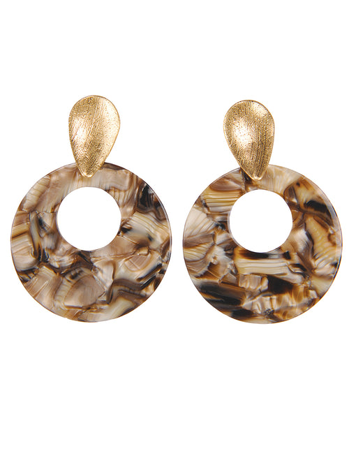 Resin Discs Drop Post Earrings