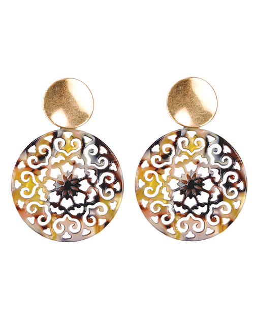 Filigree Resin Discs Drop Post Earrings