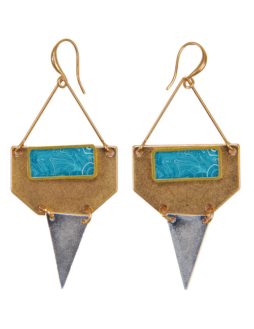 Down Arrow Mixed Metal Drop Earrings