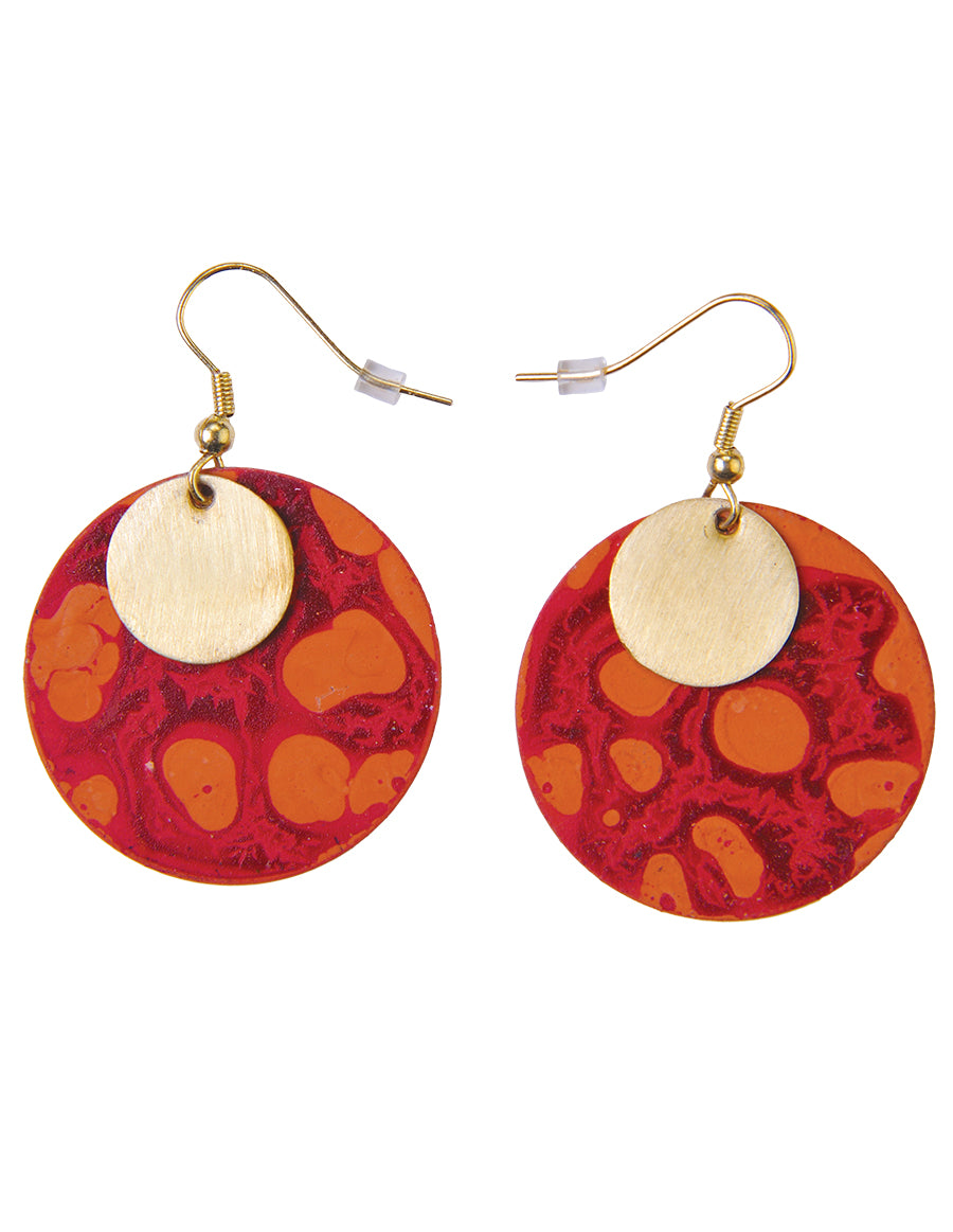 Round Patina Layered Drop Earrings