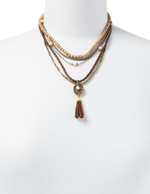 Layered Leather & Beads Necklace