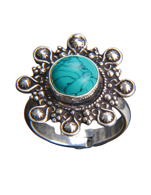 Gemstone Filigree Silver Adjustable Ring