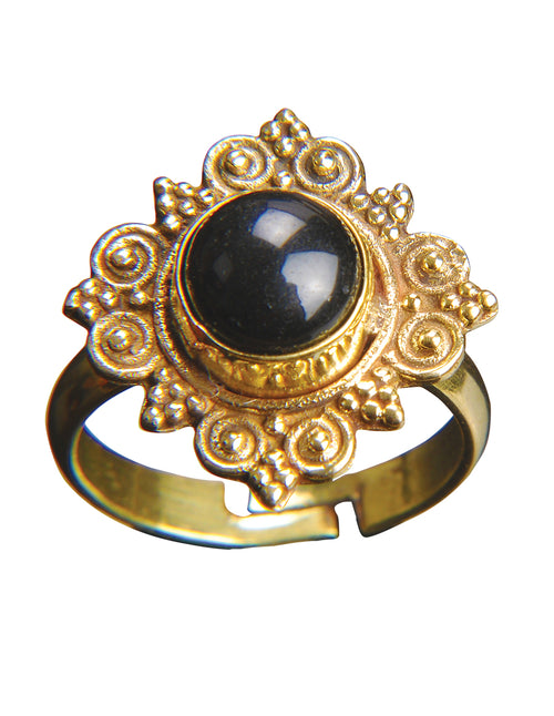 Gemstone Filigree Gold Adjustable Ring