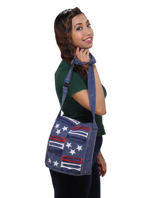 Stars and Stripes Blue Messenger Bag