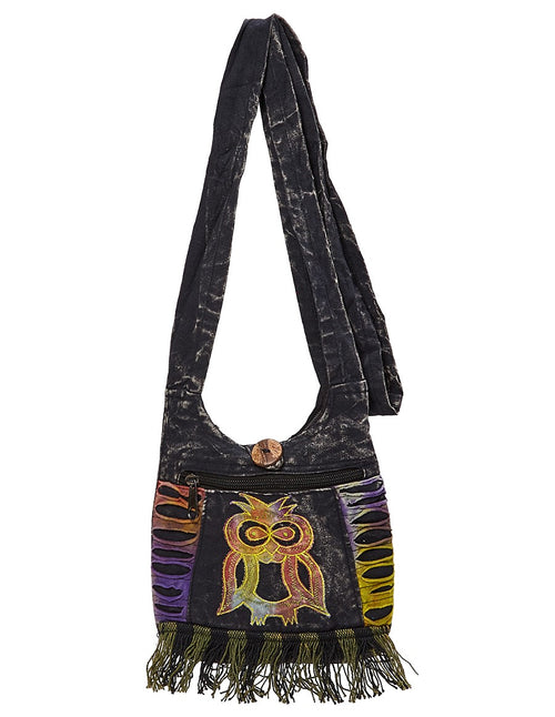 Owl Applique Fringe Mini Bag