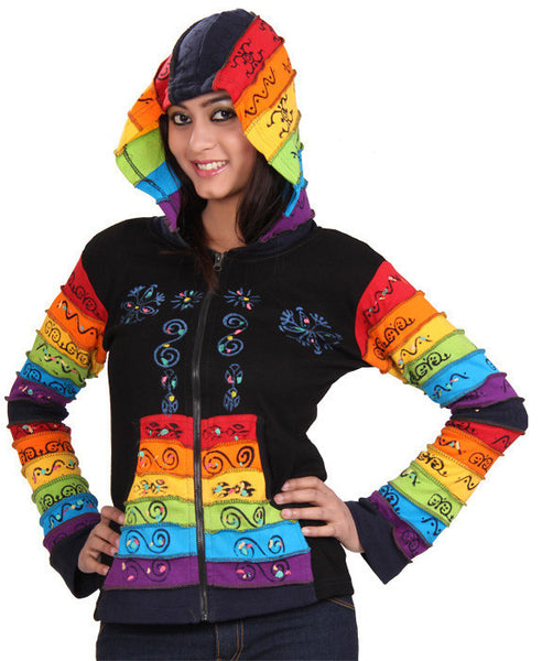 Rainbow Sleeves Black Hooded Jacket