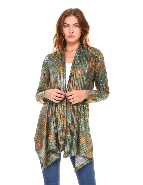 Peacock Feathers Cardigan Green