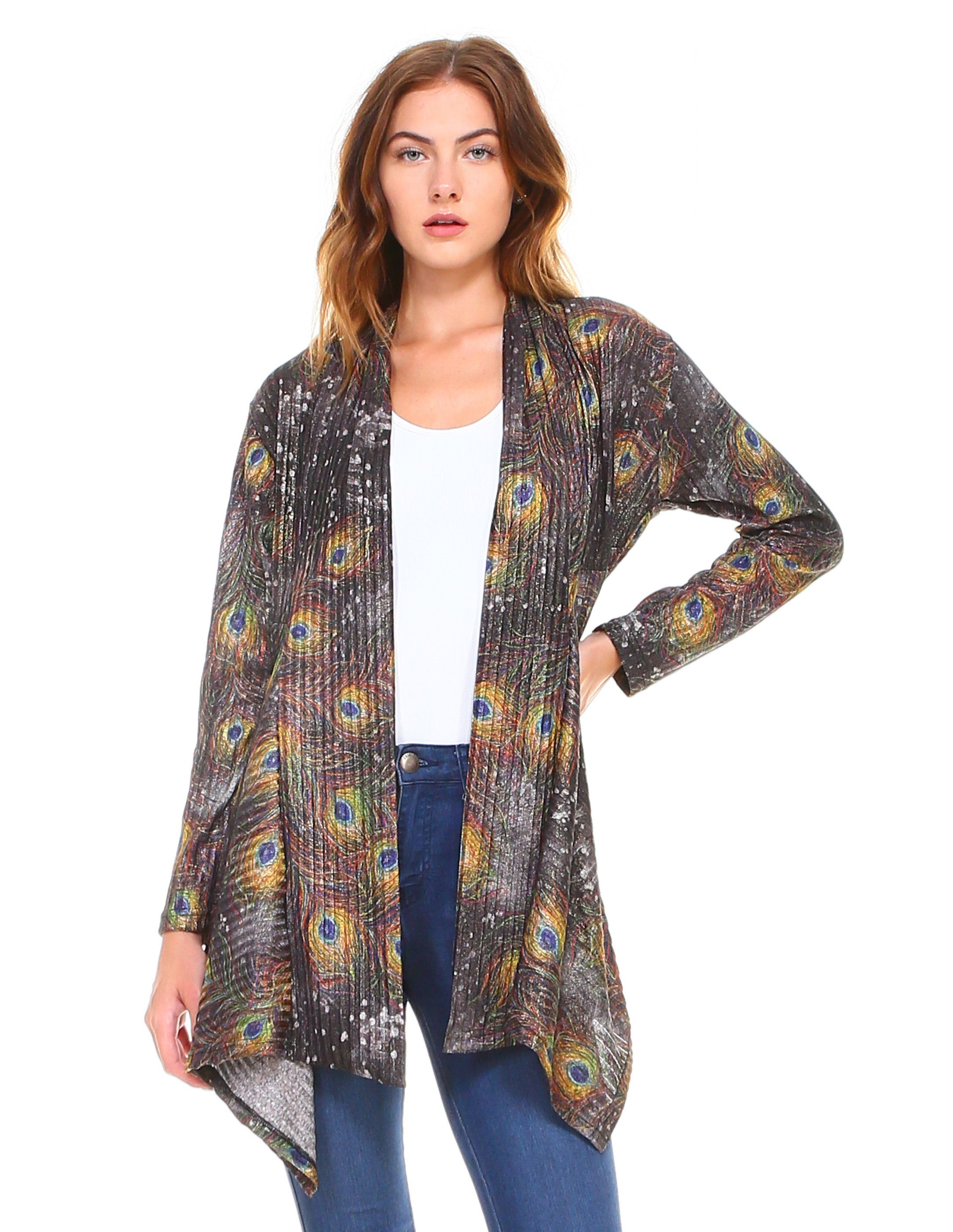 Peacock Feathers Cardigan Black