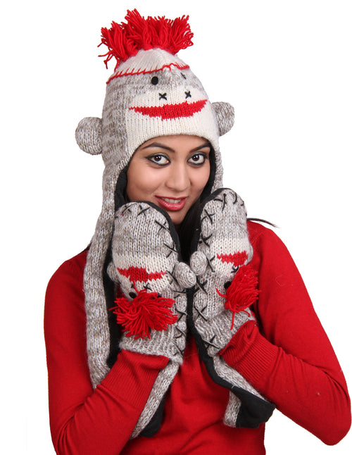 Sock Monkey Woolen Hat W' Mittens
