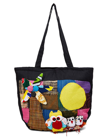 Owls and Patches Tote Bag