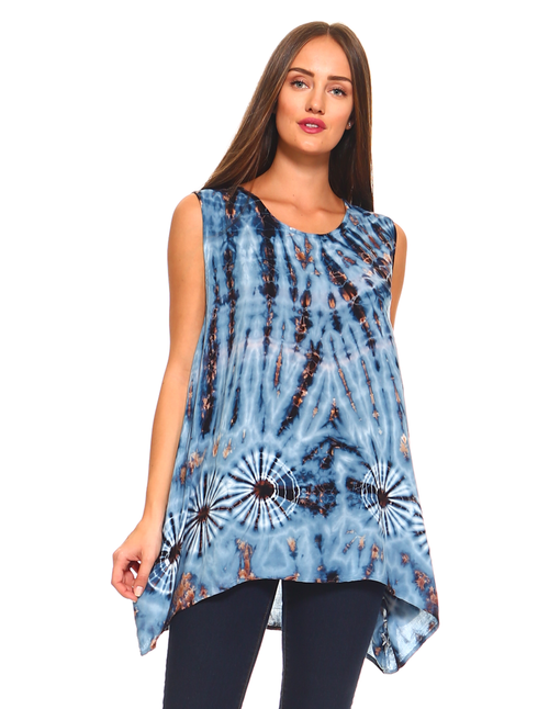 Blue Asymmetrical Bottom Tie-Dye Rayon Top