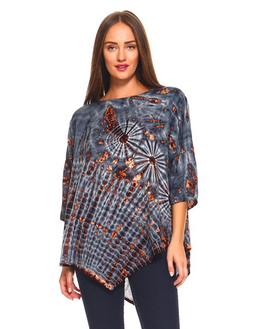 Grey Tie-Dye Rayon Top
