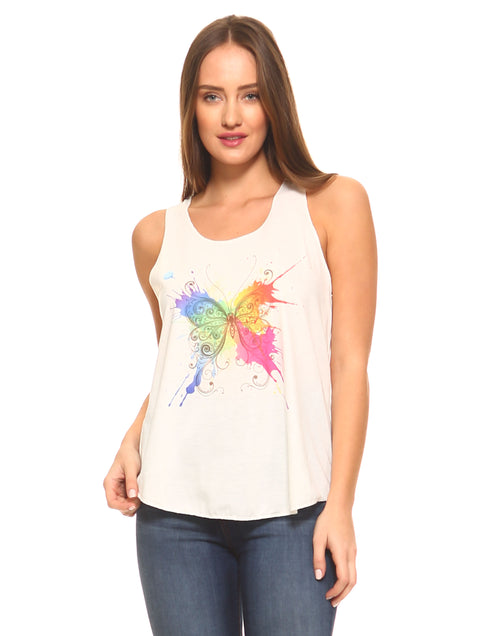 Butterfly Print Graphic Tank