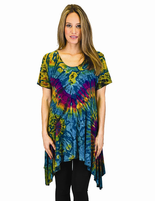Tie Dye Side Tail Detail Tunic