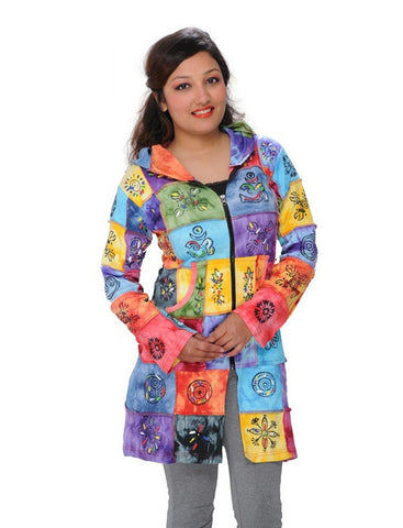 Bright Patches Long Hooded Jacket