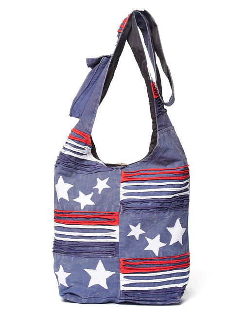 Blue Stars & Stripes Cross Body Hobo Bag