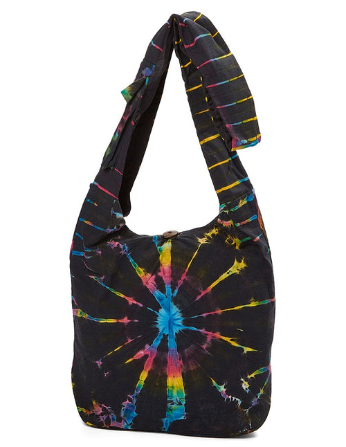 Black Rainbow Tie Dye Hobo Bag