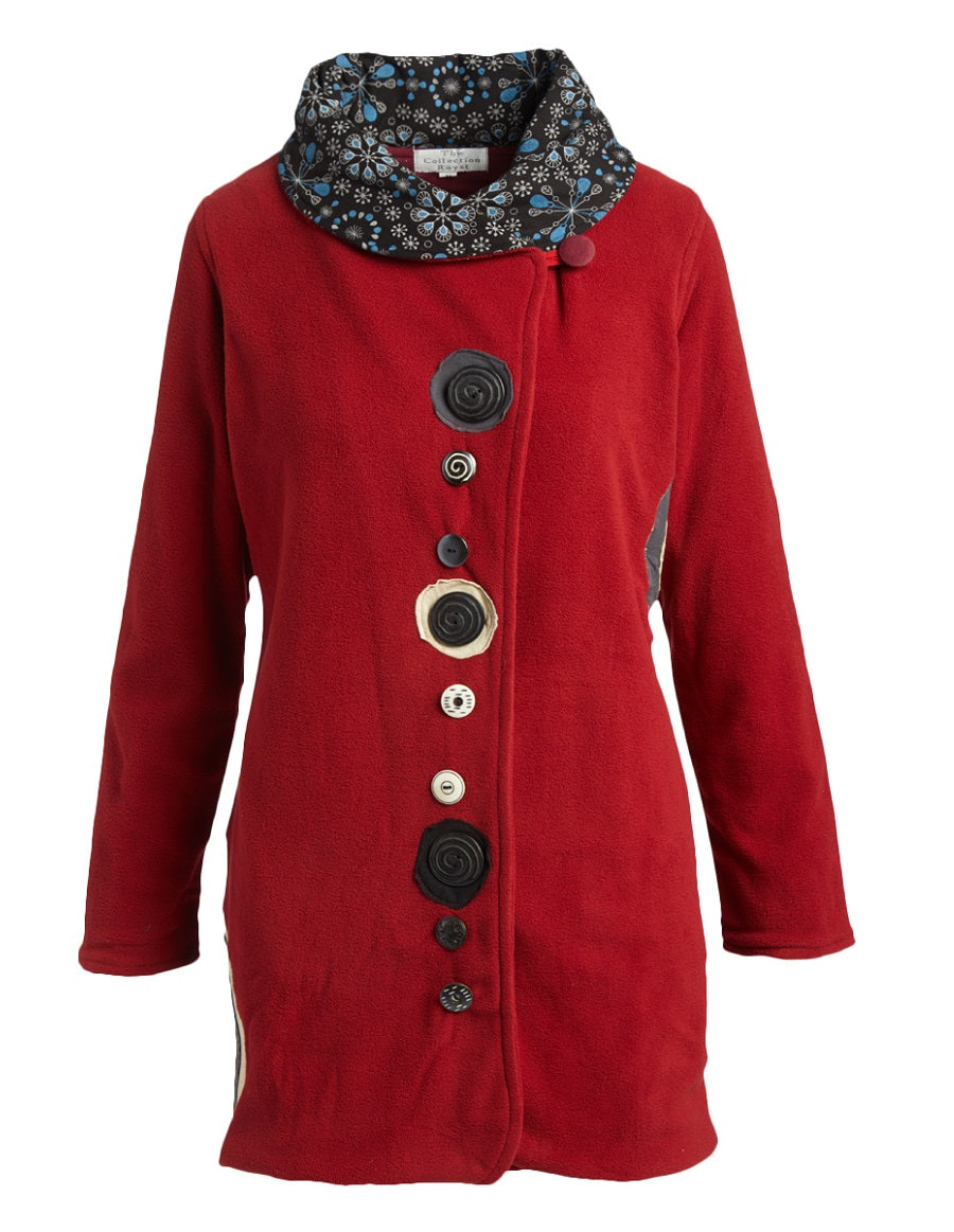 Red Button Down Fleece Coat