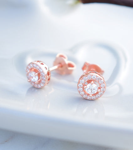 KATHERINE SWAINE, ROSE GOLD CUBIC ZIRCONIA STUD EARRINGS