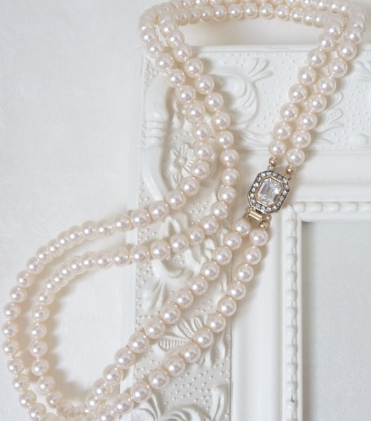 Vintage Inspired 1950s Two Strand Pearl Necklace, Necklace - Katherine Swaine