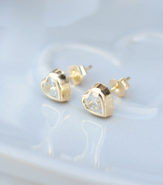 9ct Gold Bezel Set Cubic Zirconia Heart Earrings, Katherine Swaine