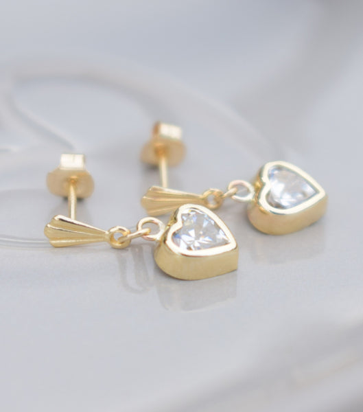 9ct Gold Cubic Zirconia Heart Drop Earrings, earrings - Katherine Swaine