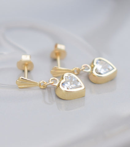 9ct Gold Cubic Zirconia Heart Drop Earrings, Katherine Swaine