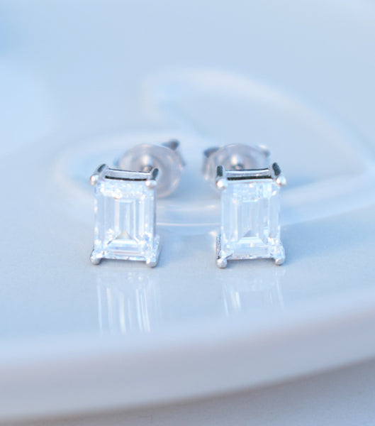 9ct Gold Emerald Cut Cubic Zirconia Studs, earrings - Katherine Swaine