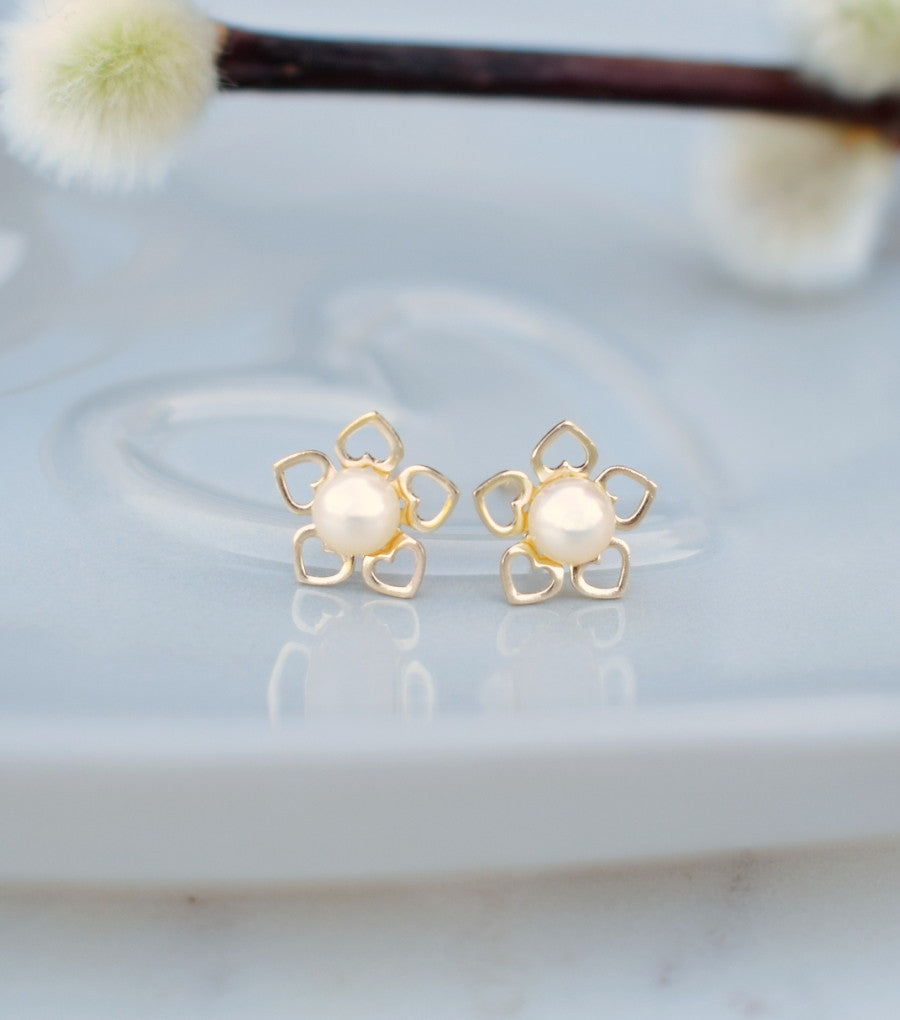 9ct Gold Flower Of Hearts Pearl Studs, Katherine Swaine