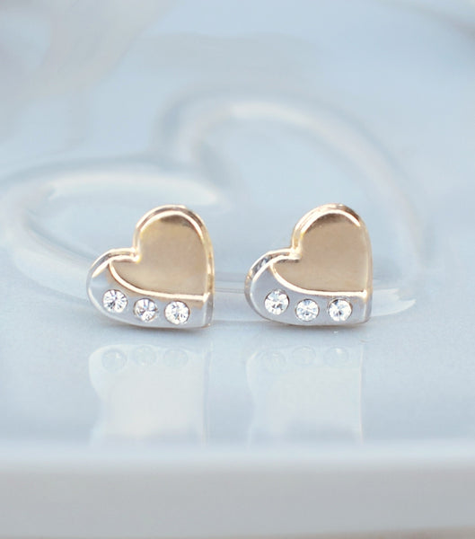 9ct Gold Two Tone Heart Stud Earrings, earrings - Katherine Swaine