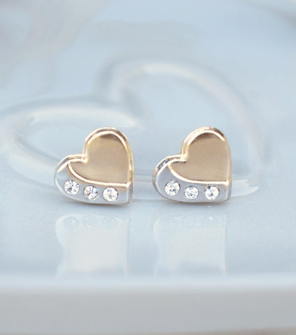 9ct Gold Two Tone Heart Stud Earrings, Katherine Swaine