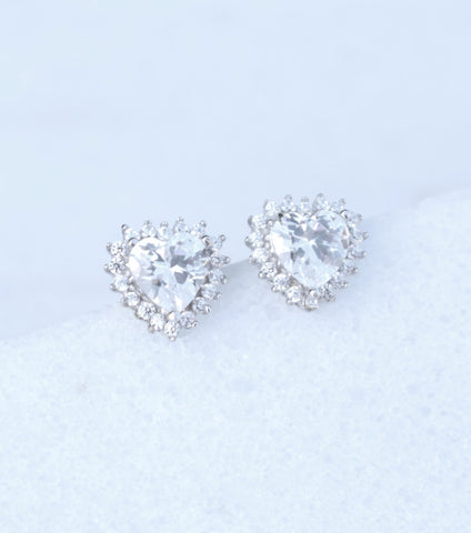 9ct White Gold Heart Cluster Earrings, Katherine Swaine