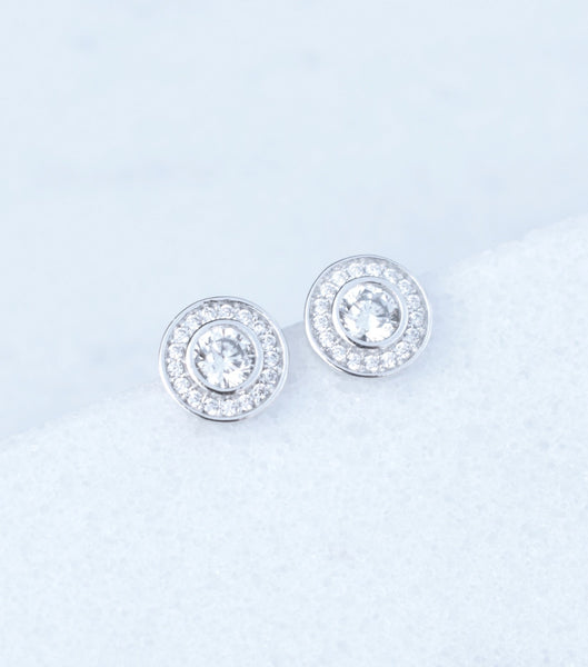 9ct White Gold Pave Cubic Zirconia Stud Earrings, earrings - Katherine Swaine