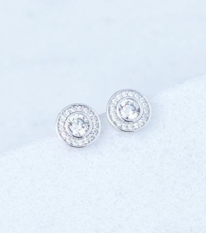 9ct White Gold Pave Cubic Zirconia Stud Earrings - Katherine Swaine