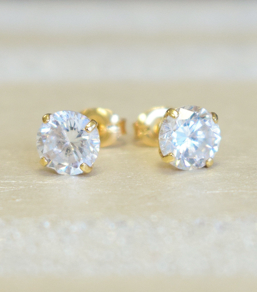 gold yellow earrings brilliant backs stud round diamond screw