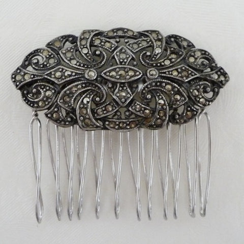 Antique Art Deco Marcasite Hair Comb *SOLD*, Hair Comb - Katherine Swaine