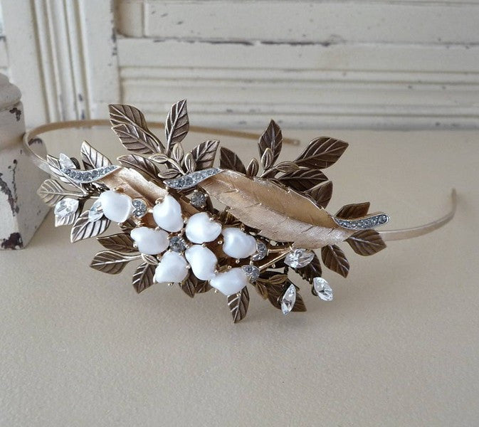 Antique Gold Floral Headdress *SOLD*, Headdress - Katherine Swaine