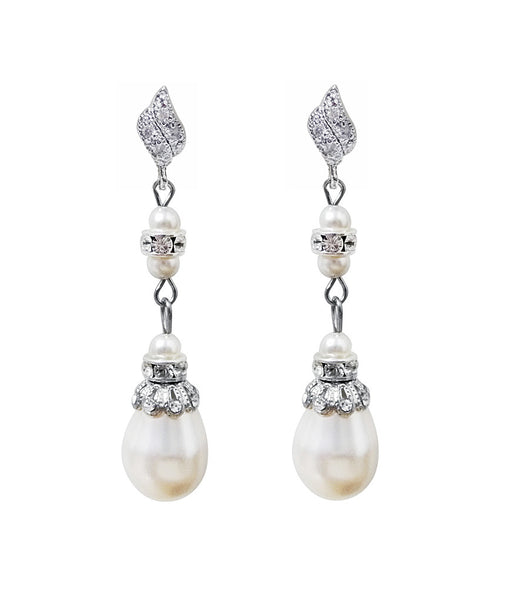Antique Inspired Long Pearl Drop Earrings, earrings - Katherine Swaine