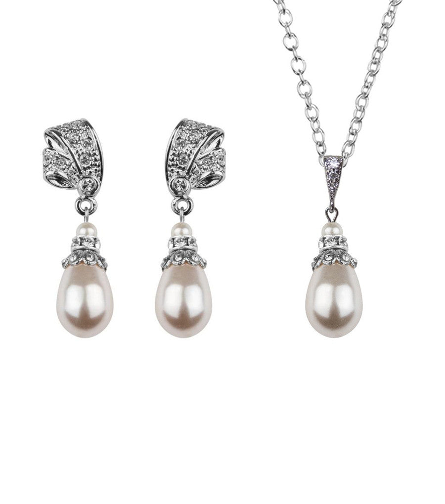 Antique Inspired Pearl Drop Earring and Necklace Set
