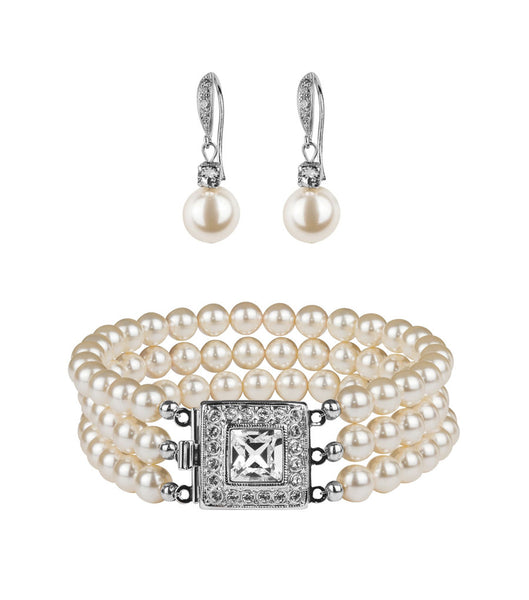 Art Deco Inspired Bracelet and Fish Hook Earring Set, Jewellery Sets - Katherine Swaine