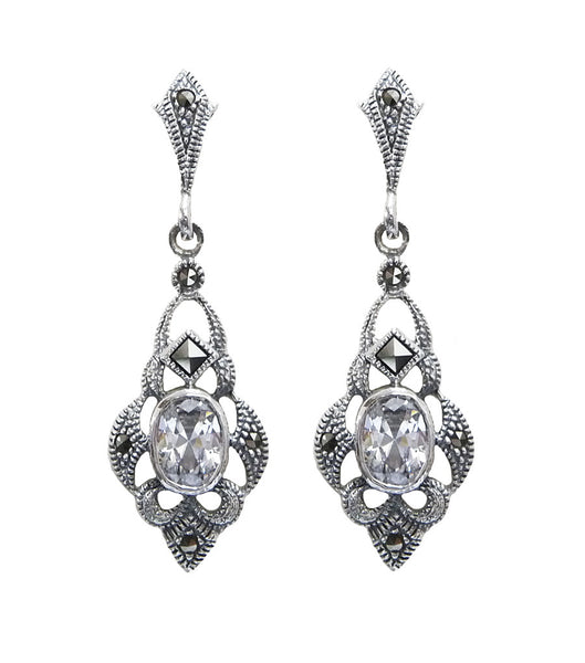 Silver Art Deco Inspired Marcasite Earrings, earrings - Katherine Swaine