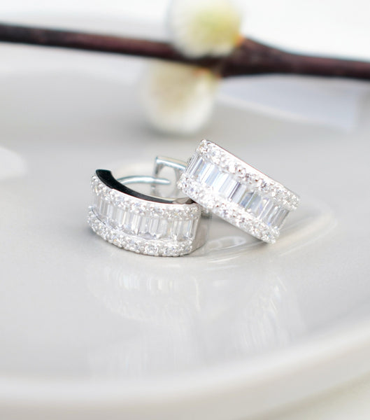 Baguette And Pave Cubic Zirconia Hoop Earrings, earrings - Katherine Swaine