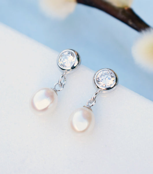 Bezel Cubic Zirconia And Pearl Drop Earrings, Katherine Swaine