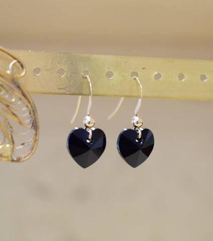 Yellow Gold and Black Crystal Heart Earrings, earrings - Katherine Swaine